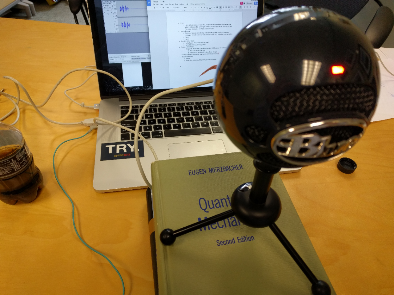 This is Aaron's podcasting setup.
