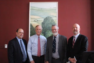 U.S. Senator Angus King of Maine with Phineas Sprague, owner of the  Harvey Gamage  (center two), with Steven Schwadron, Counsel (L) and Gregory Belanger (R), President of Ocean Passages