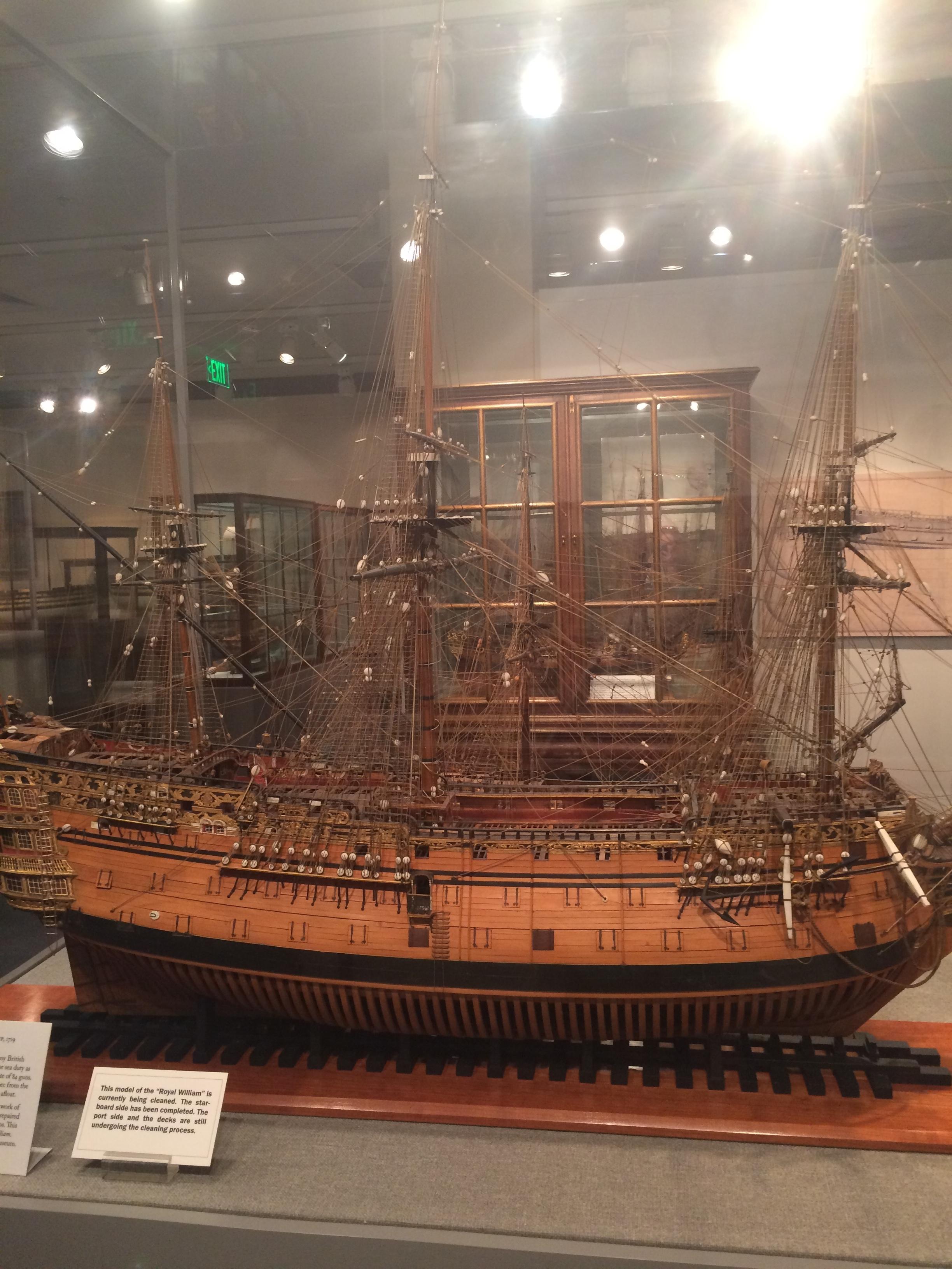 A model ship at Preble Hall