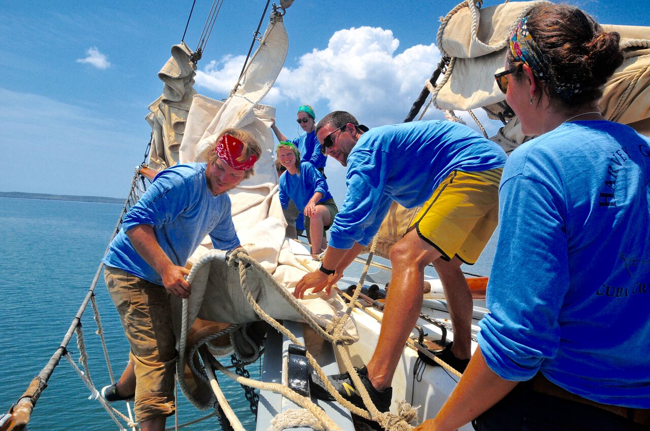 Ready for Rough Sailing: Participants of Maine's maritime educational program Ocean Passages ready their 130-foot sailboat as it heads to Cuba. Photo from Ocean Passages.