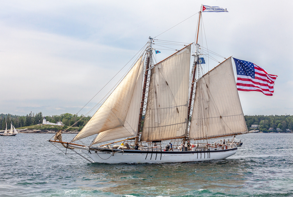 Harvey Gamage sailing past Burnt Island Light Station, Boothbay Harbor, Maine  Photo credit: Paul VanDerWerf  https://www.flickr.com/photos/12357841@N02/28231087797/#DiscussPhoto