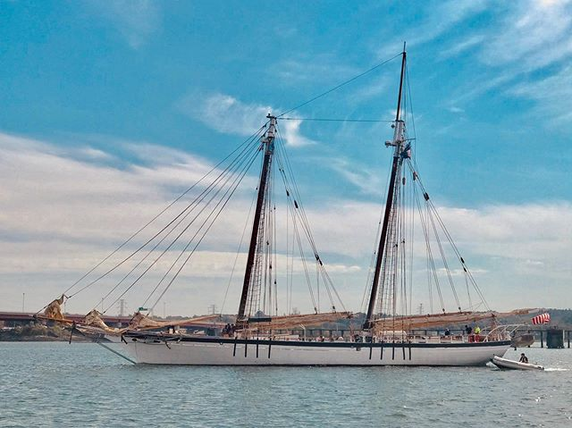 We're on our way to Rockland with a group of students from Freeport High School, and next week we'll pick up students from Vinalhaven School for more #sailtraining on the Maine coast. We're looking forward to spending our next two weeks #sailing in #penobscotbay! #tallships