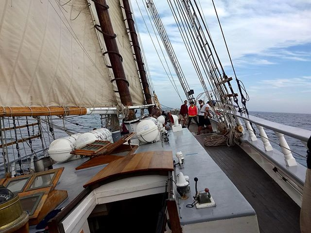 """Check out the link in our bio for an article that discusses our time spent at sea with Freeport High School. """"They [the students] triangulated their location, acquired and used sailing terminology, tied knots, hoisted and furled sails, read gauges, washed dishes, cleaned the decks and 'bowls' (toilets), and staffed the night watch. Students quickly learned how to pull together as a team. A student articulately reflected, 'I feel like we are one, and even though many of us may not admit it, this trip has been an eye-opener in many ways.'"""" 📸: @nafiunawal & Diane Kew"""