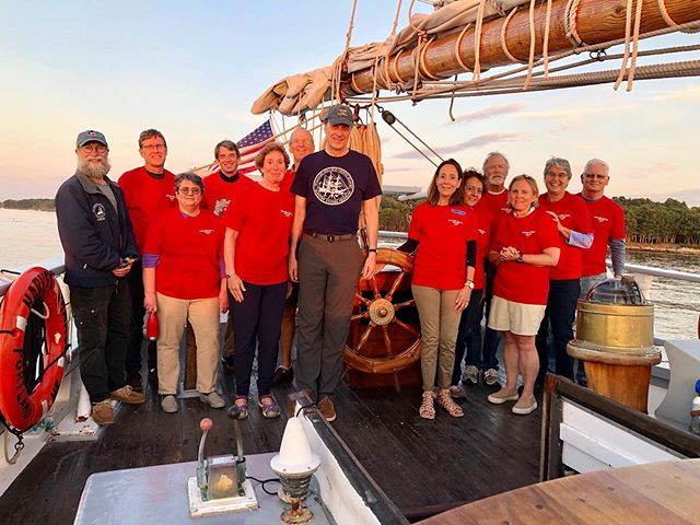 Last month, we had a group of alumni from Williams College aboard. What made this group so special? They sailed together 42 years ago on RV Westward during a semester-long program with@sea_semester! They voyaged from Woods Hole, MA to the Gulf Stream and back while learning #tallship life and #marinebiology.  Our program began with a tour of Westward (most having not seen the ship since 1977), and the group then joined #harveygamage for a weekend spent #sailtraining and reminiscing over times shared years ago.  These voyages have a long-lasting impact on the students and crew who climb aboard for any length of time. We're lucky to be a part of this transformational experience.