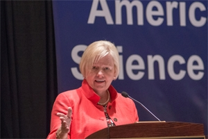 Dean Romzek at American University honors award winners. We took her remarks beyond a ceremonial speech by offering substantive commentary on the gov't shutdown taking place that year.