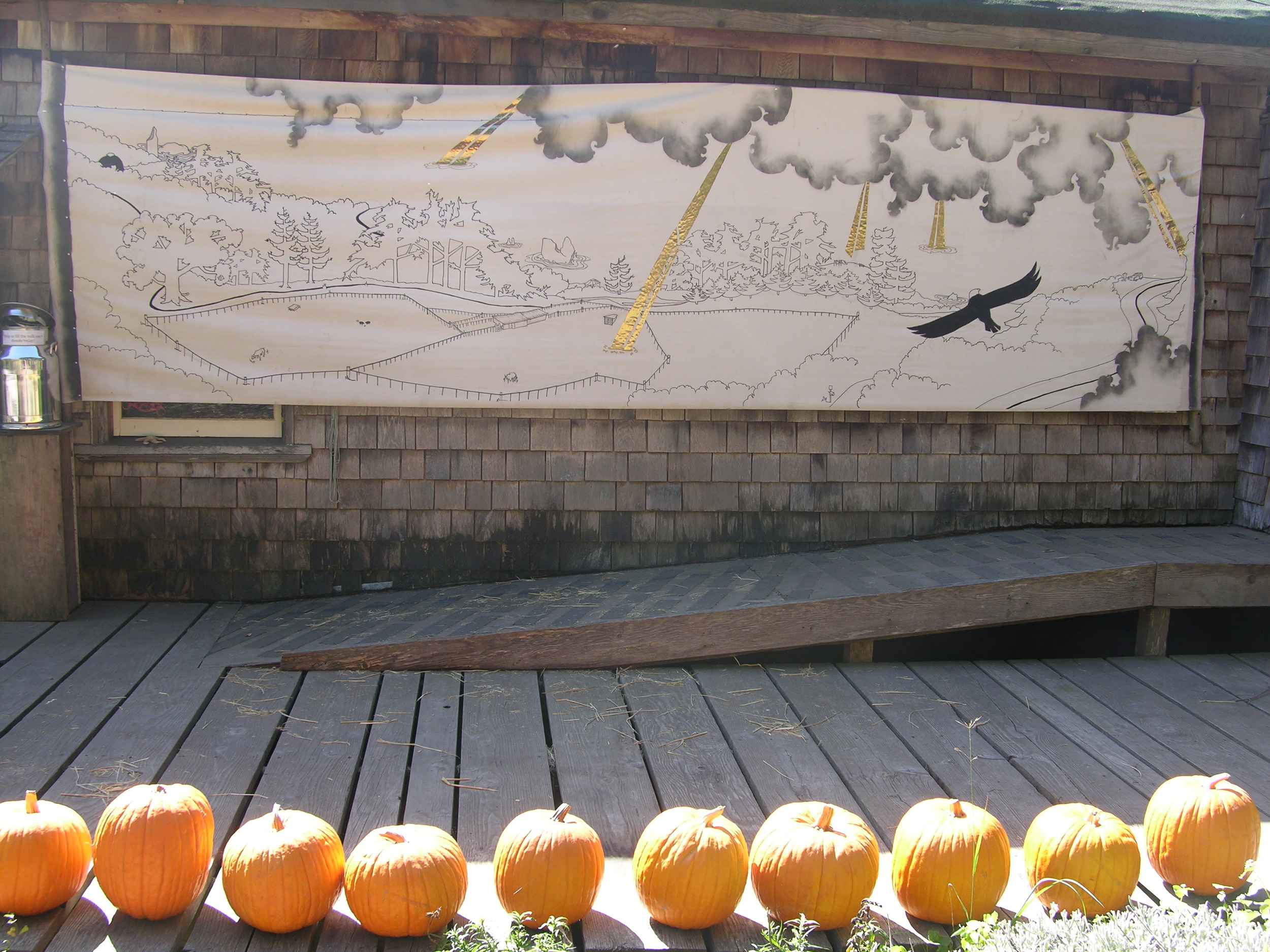 Stage mural for Harvest and Spring Festivals, Slide Ranch, 2011.