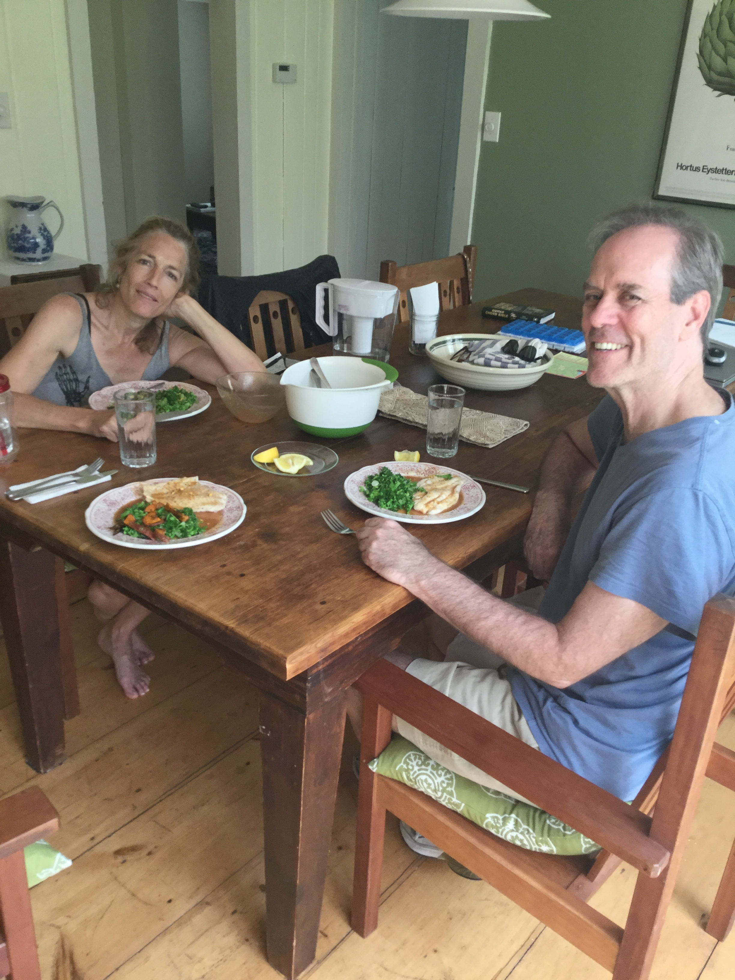Father's Day meal in the country. My hands then cramped up from all the cooking and I couldn't hold my fork.