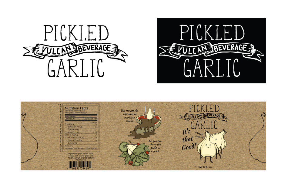 Logo and Label for Vulcan Beverage Pickled Garlic