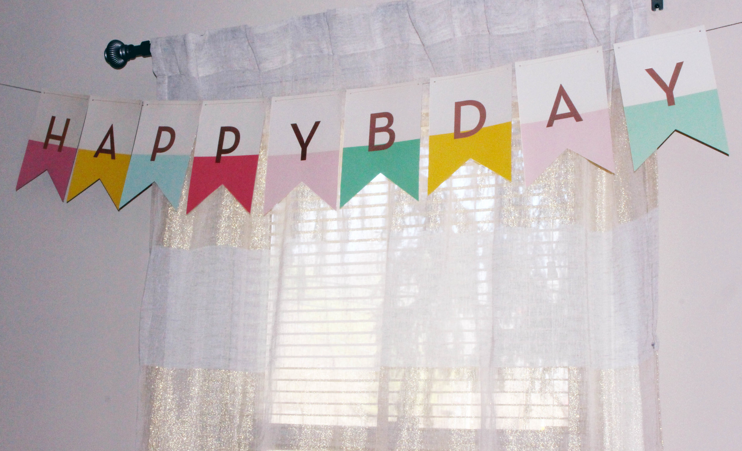 colorful happy bday banner for first birthday | Pish Posh Perfect