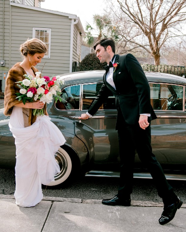It's romance season. 💘 📸 by @jenningsking. dress by @mirazwillinger. tux by @charlestontuxedo. 🚗 by @lowcountryvalet