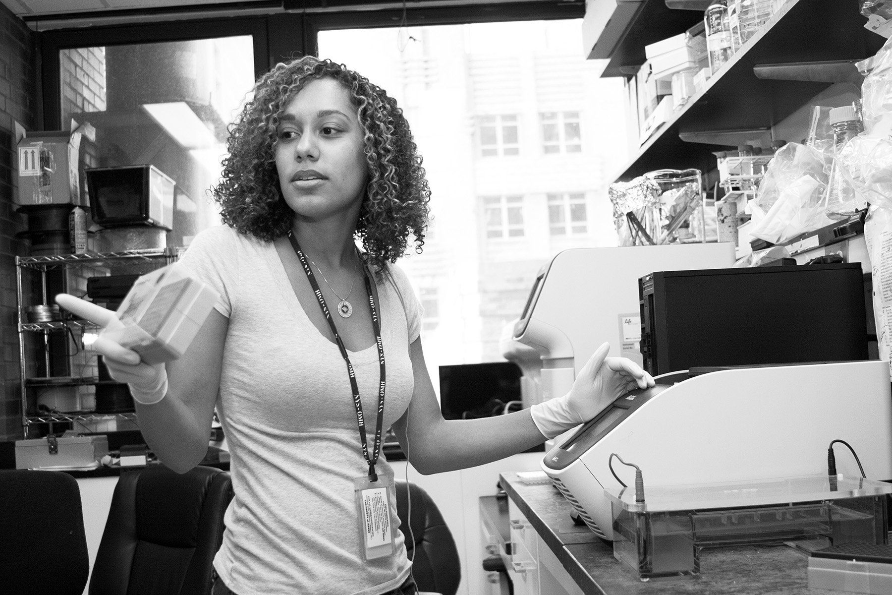 Tabia has placed her tissue samples in a PCR (polymerase chain reaction) machine (aka a thermal cycler), which allows her to find and amplify what markers are present in the DNA sample.