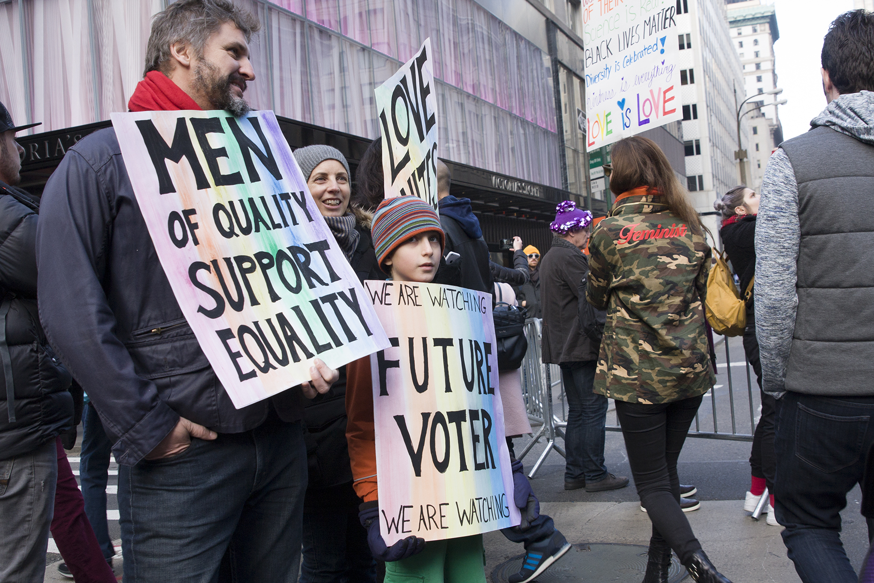 """""""Men of Equality Support Equality""""  """"Future Voter: We Are Watching""""  The Women's March, New York City, January 21, 2017"""