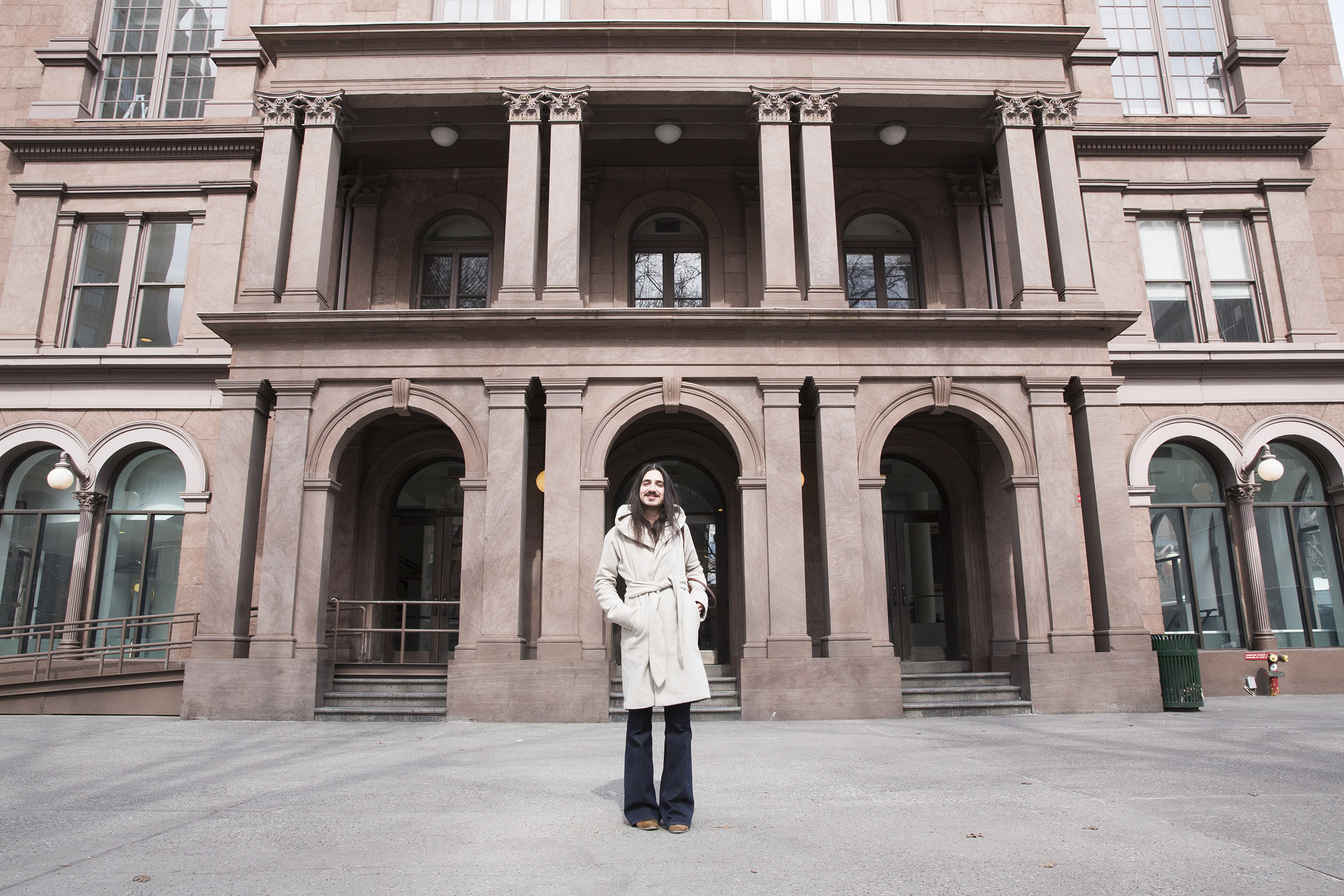 Aaron stands in front of The Cooper Union Foundation Building on East 7th Street in New York City. They completed the Type@Cooper program and learned about TypeThursday.