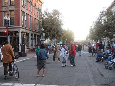Mingling and Dancing on Washington Street