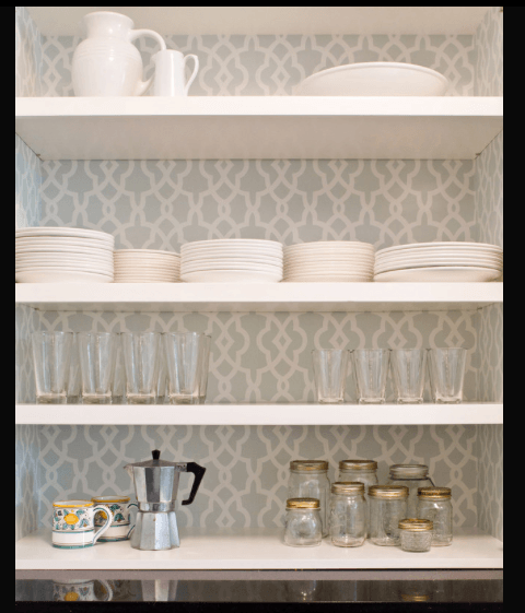 Photo from Houzz .com of wallpaper behind open kitchen cabinets.