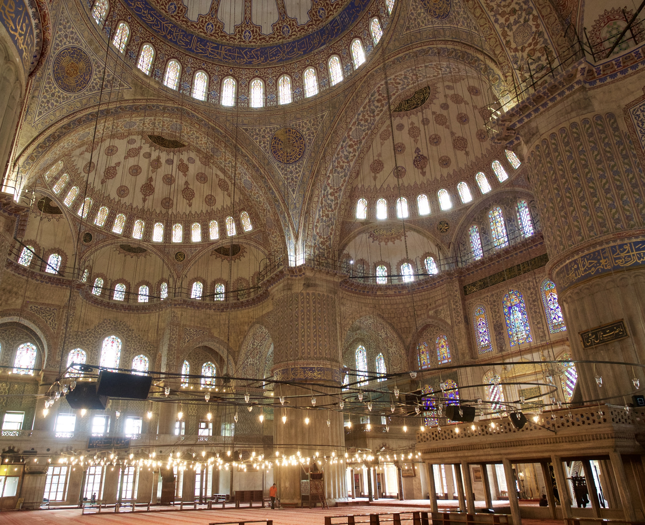 Inside the Blue Mosque in between prayers.