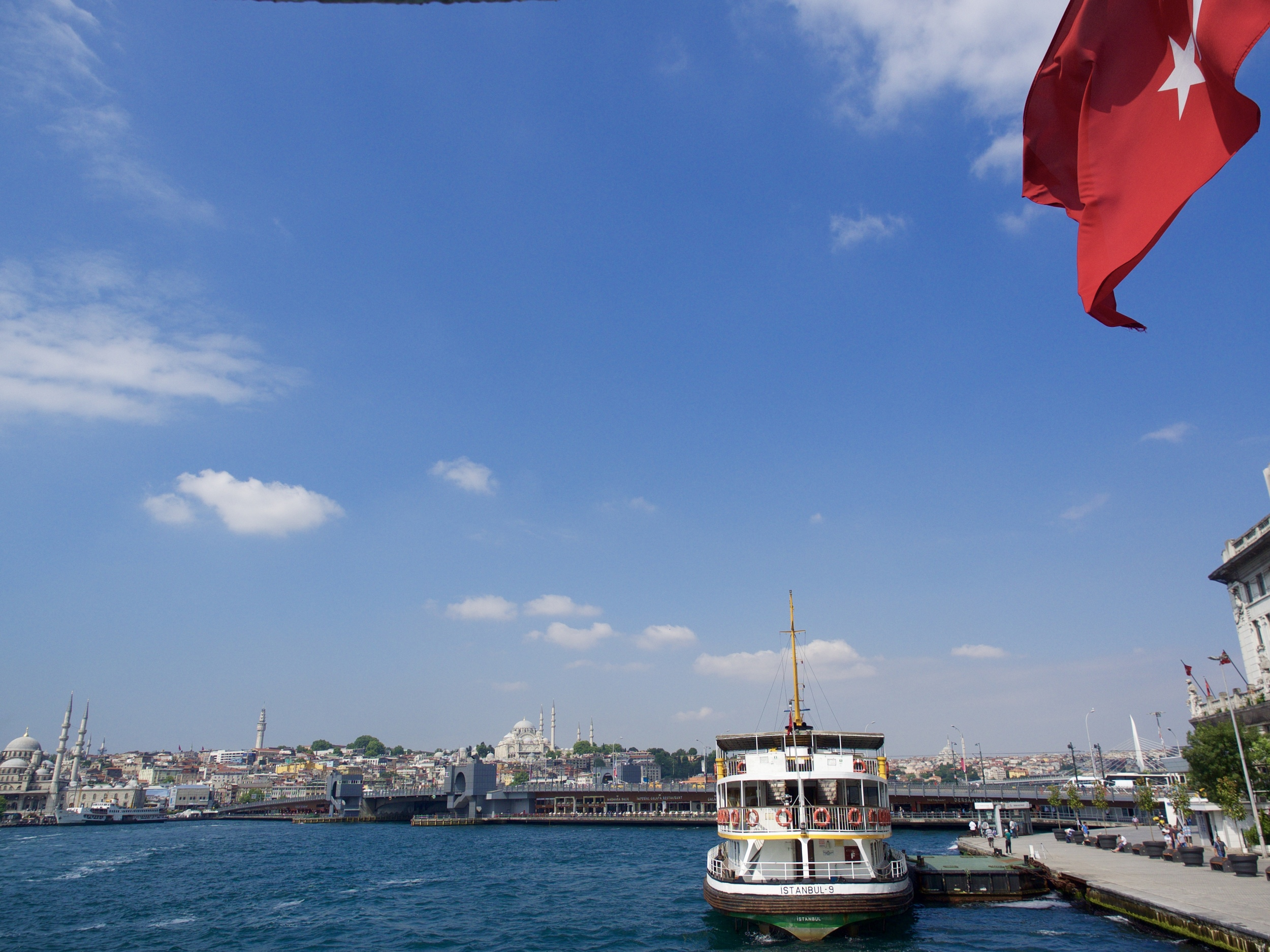 Hopping on the city ferry to cross the Bosphorus over to Asia.