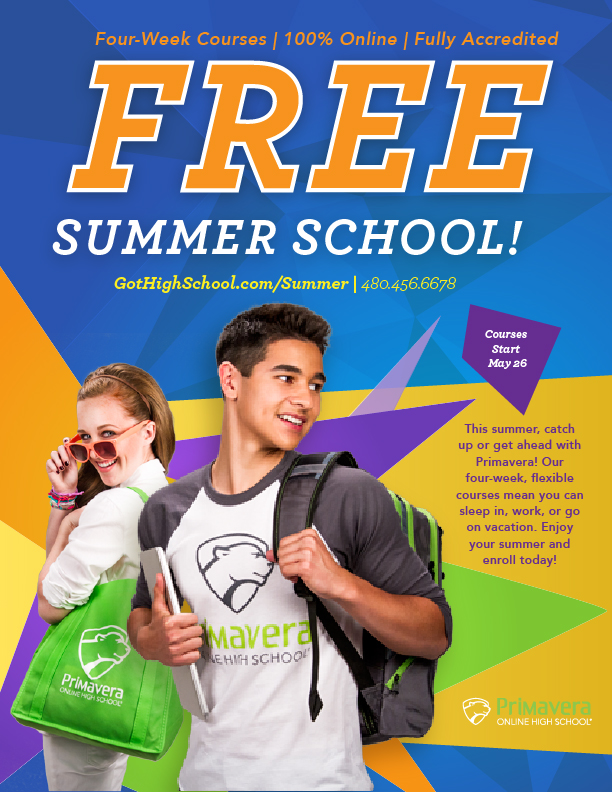 Here is a magazine advertisement to promote summer school with Primavera Online High School.