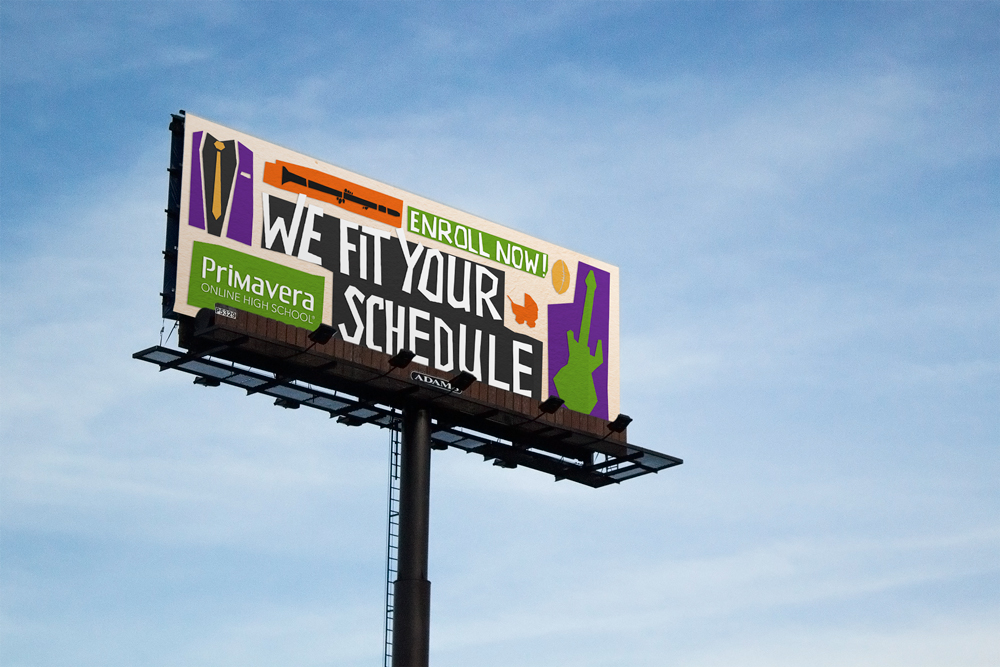 Billboards are a great place to advertise, not only because they are specific to a target region, but also because you can catch a vast amount of potential parents and students who may have never considered Online School.