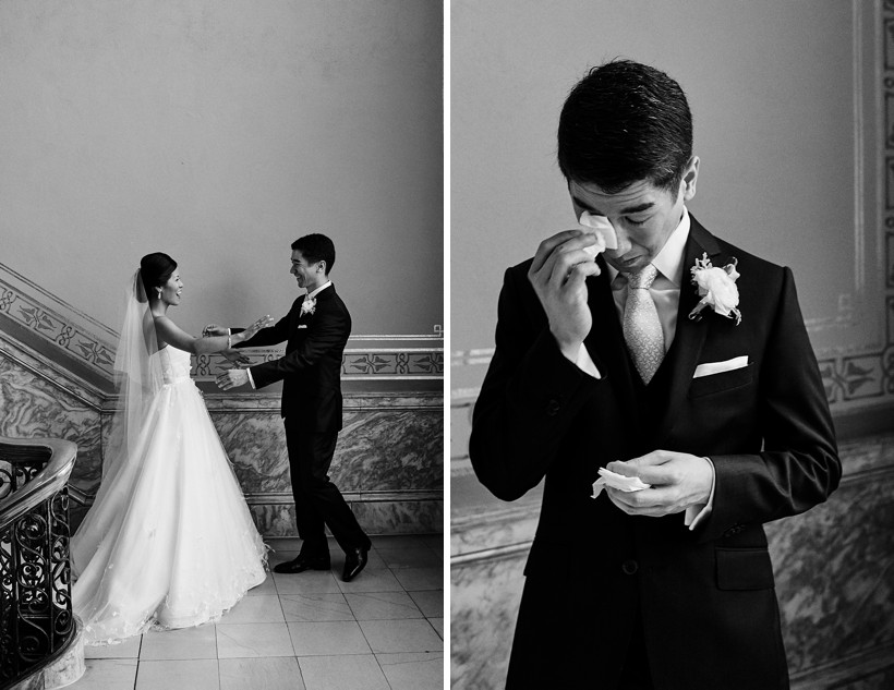 A groom breaks down into tears after seeing his beautiful bride during the first meet