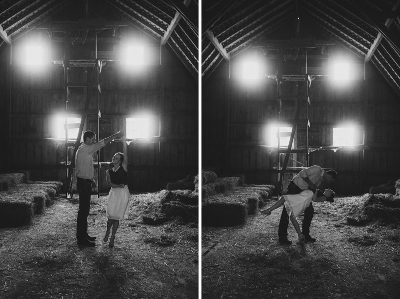Erin and Scott dance in the attic of the barn
