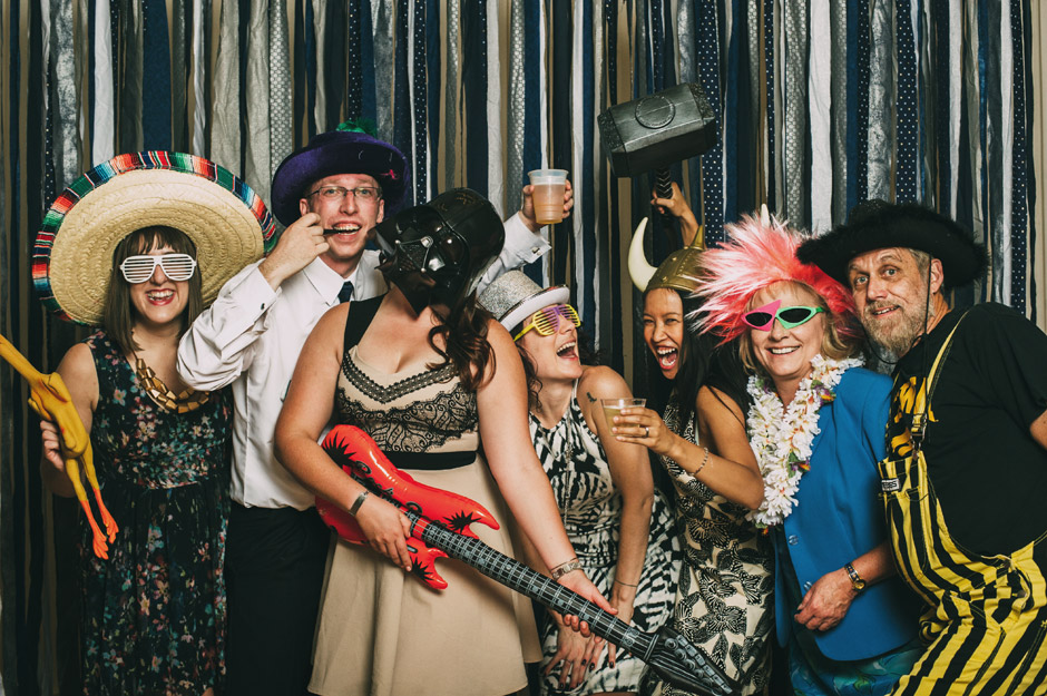 A photobooth amps up the energy at Amy and Robert's State Historical Building wedding