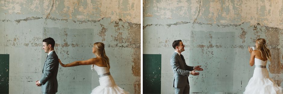 Stephanie and Nick's first meet at the Des Moines Teachout Building was emotional