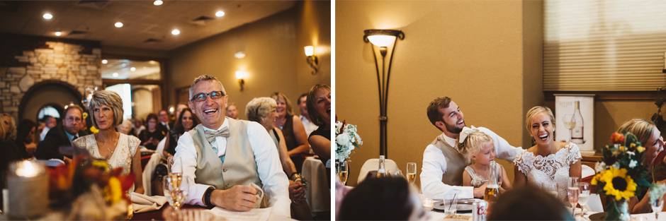 The reaction to a hilarious speech during Paige and Andrew's Carroll Wedding Reception