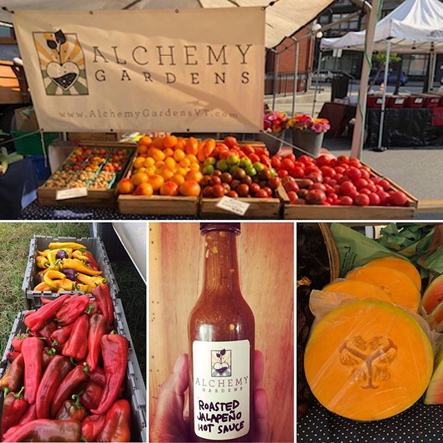 Rainbow of tomato bounty, hot sauce, sweet peppers, and last of the melon at tomorrow's @rutlandfarmersmarket @vermontfarmersmarket downtown Rutland 9-2  #vermont #vermontlife #vermontfarm #rutlandvt #rutvt #hotsauce