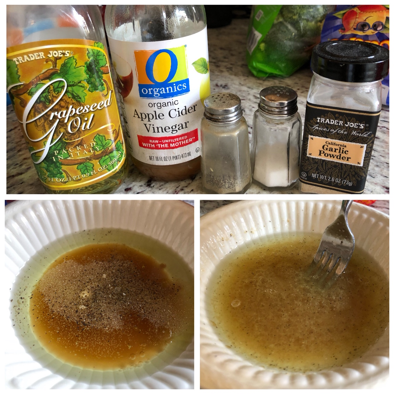 Pictured above in the top photo: Salad dressing ingredients, Pictured on the bottom left photo: ingredients in bowl before mixing, Pictured on the bottom right: After mixing, you have a delicious salad dressing!