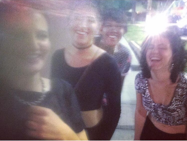 "Awkward, yet charming selfie of ""the squad"" during our first official group foray into the lesbian nightlife."