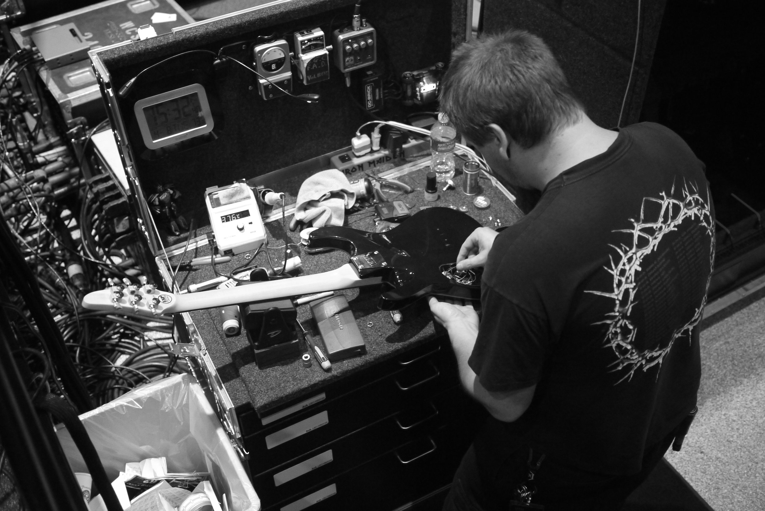 Touring Solutions - Volbeat European Arena Tour 2013 - Tue Bayer Guitar Tech.JPG