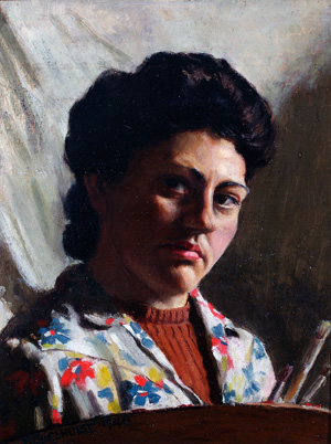 2 Ladies' legacies: Women gifting art by women: Lisa Bryan-Brown,  Brisbane    etty Quelhurst,  Self portrait , 1948, oil on composition board, QUT Art Collection, Brisbane; gift of the artist under the Cultural Gifts Program, 1998