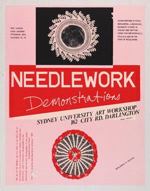 3 Forty years and countinG: Louise R. Mayhew,  Sydney    Marie McMahon,  Needlework demonstrations , 1976, screenprint, 57.8 x 45.3cm, University of Sydney Art Collection, transferred from the Tin Sheds Gallery and Art Workshop to the University of Sydney, 2014