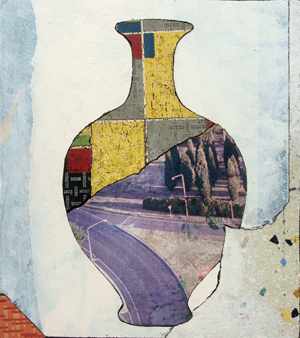 4 The past comes close: New works: Bruce Reynolds by Virginia Rigney,  Brisbane    Bruce Reynolds,  Vase with Cypress , 2016, lino on board, 168 x 103cm; image courtesy the artist and Jan Manton Art, Brisbane