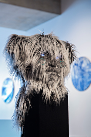 12 Curiouser and curiouser: The 2016 Adelaide Biennial of Australian Art: Stephanie Radok,  Adelaide    Tarryn Gill,  Guardian Figure , 2015, installation view, Samstag Museum of Art, Adelaide, 2016; mixed media including foam, faux fur, LED lights, 46 x 40 x 30cm; photo: Saul Steed