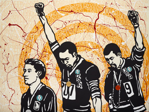 9 Resonant rooms: 'When silence falls' at the AGNSW: Margaret Farmer,  Sydney    Richard Bell and Emory Douglas,  We Can Be Heroes , 2014, synthetic polymer paint on canvas, 180 x 240cm, Art Gallery of New South Wales, Sydney, purchased with funds from the Wendy Barron Bequest Fund, 2015; image courtesy Milani Gallery, Brisbane; © Richard Bell and Emory Douglas
