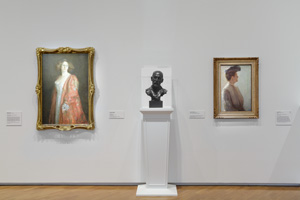 11 National art and the National Gallery: The new collection display and 'Tom Roberts': Daniel Thomas,  Canberra    Tom Roberts, exhibition view, National Gallery of Australia (NGA), Canberra, 2015–16, with (from left): Tom Roberts,  Madame Hartl , 1909–10, oil on canvas, 114.5 x 76.6cm, NGA, Canberra, purchased 1969; Derwent Wood,  Tom Roberts , 1910, patinated plaster, 55.9 x 34 x 26cm, Art Gallery of New South Wales, Sydney, gift of Tom Roberts, 1929; Tom Roberts,  Mrs Tom Roberts, c.  1906, oil on canvas, 76.8 x 54cm, Art Gallery of Western Australia, Perth, purchased with funds from the Hackett Bequest Fund, 1949; image courtesy the NGA, Canberra