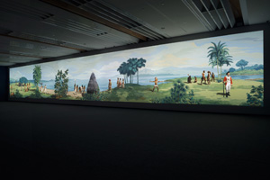 2 Re-animating encounter: Lisa Reihana's in Pursuit of Venus [infected]: Vivienne Webb,  Auckland    Lisa Reihana,  in Pursuit of Venus [infected] , 2015, exhibition views, Auckland Art Gallery Toi o Tāmaki, 2015; gift of the Patrons of Auckland Art Gallery