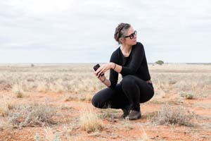 2 A coming forth on Kaurna land: NICI CUMPSTON   Yhonnie Scarce on Tjarutja country at Taranaki bomb site Maralinga, South Australia; image courtesy the artist and the Art Gallery of South Australia,  Adelaide ; photo: Janelle Low, 2015