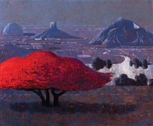 3 Lawrence Daws: Gondwana dreaming: JOHN NEYLON   Lawrence Daws,  Glasshouse Mountains with Poinciana , 2012, oil on canvas, 100 x 120cm; image courtesy the artist and Philip Bacon Galleries,  Brisbane