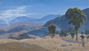 8 Elioth Gruner: After the spring: LAURA MURRAY CREE   Elioth Gruner,  Murrumbidgee Ranges, Canberra,  1934, oil on canvas, 51.6 x 89cm; National Gallery of Australia, Canberra, bequest of Stuart A. Johnston, 1964