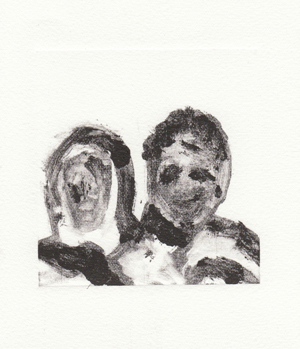 5 Drawn to Dust: Hill End reflections 2013: PAMELA FRENCH   Pamela French,  Husband and wife , 2013, monotype, 10 x 12cm