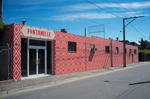 8 Playing the Fontanelle, Bowden, Adelaide: WENDY WALKER   Fontanelle Gallery exterior, Bowen, Adelaide, building façade painting by Sam Songailo