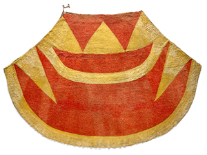 1 Return and revival in 'He Nae kea: Bound Together': Mārata Ketekiri Tamaira,  Honolulu    Ahu'ula (feather cloak), late 18th century, plant fibre, feathers, 145cm length, 220cm width; gift of Lord St Oswald, 1912; image courtesy Museum of New Zealand Te Papa Tongarewa, Wellington