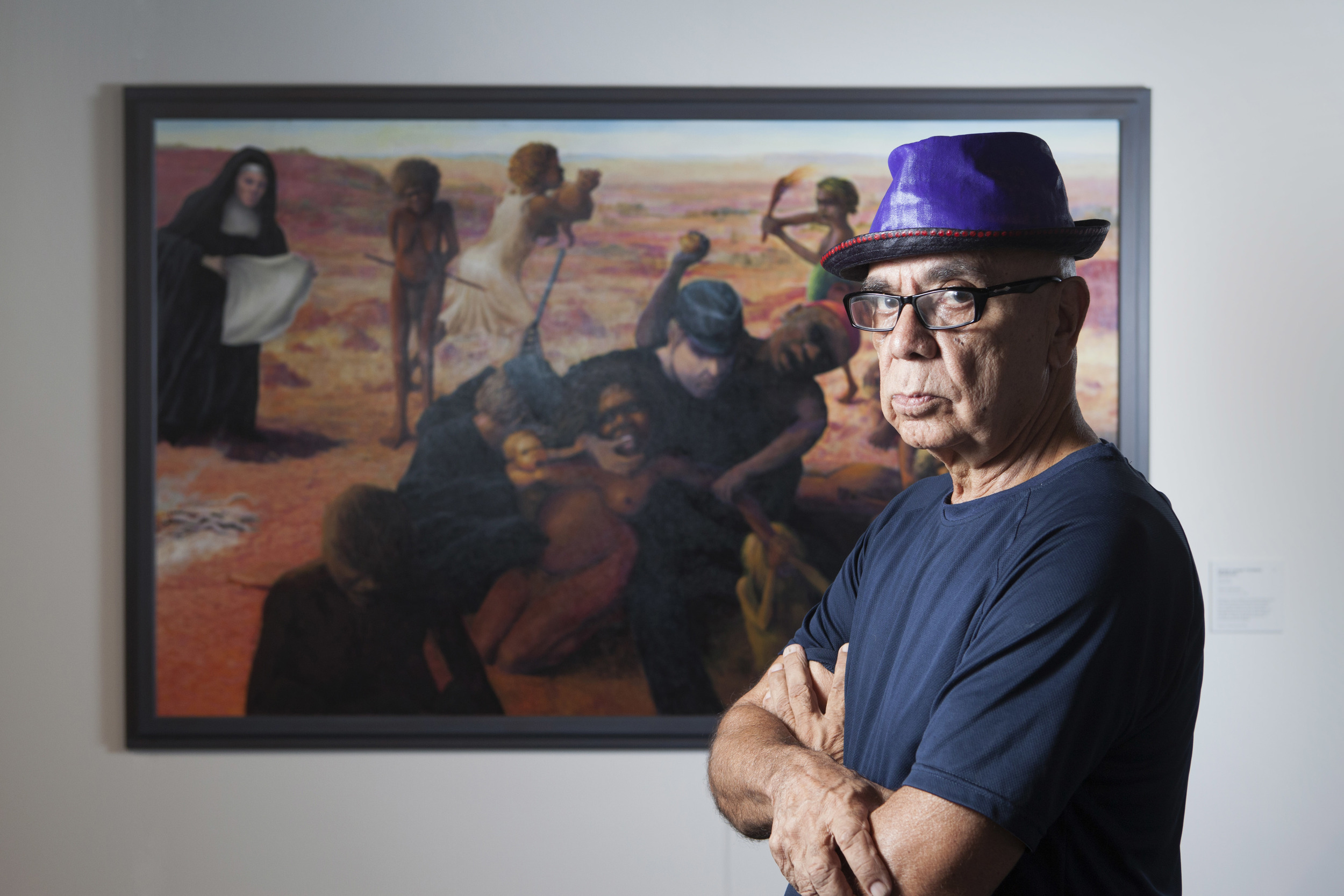 Harold Joseph Thomas (Bundoo) with his work  Tribal Abduction , overall winner of the 2016 Telstra Art Award
