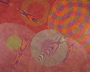 5 Sound spheres: John Aslanidis: MARGUERITE BROWN   John Aslanidis,  Sonic Network no. 13 , 2013, oil and acrylic on canvas, 244 x 304cm; collection: Chris Austin; image courtesy the artist and Gallery 9, Sydney