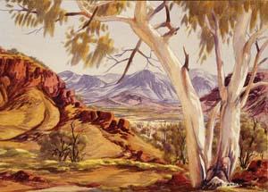 8 When the wind changed: 'Albert Namatjira' at the Araluen Arts Centre, Alice Springs, 1984: JOANNA MENDELSSOHN   Albert Namatjira,  Mt Hermannsburg, Finke River , c. 1948, watercolour, over pencil; 36.7 x 53.8cm (image), 37.2 x 54cm (sheet); National Gallery of Australia, Canberra, purchased 1977