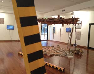 3 Convivial futures: The relational art of Ruark Lewis: IAN McLEAN   Ruark Lewis:  Survey Part ll - Collaborations  (1987 -2013) (with Barayuwa Mununggurr and Jonathan Jones), Macquarie Art Gallery, Sydney, installation detail; photo: Teri Hoskin