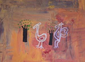 7 Against the grain: the 30th NATSIAAs & Salon des Refusés: MAURICE O'RIORDAN   John Murray,  Flight , 2013, acrylic on canvas, 82.5 x 60.5cm, 2013; shown in Salon des Refusés; image courtesy the artist and Girringun Aboriginal Art Centre, Cardwell